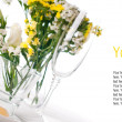 Festive table setting in yellow, template — Stock Photo