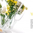 Festive table setting in yellow, template — Stock Photo #11464213