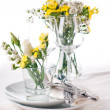 Festive table setting in yellow — Stock Photo #11464219