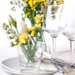 Festive table setting in yellow — Stock Photo #11464221