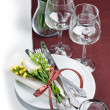 Festive table setting in brown — Stockfoto