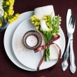 Festive table setting in brown - Stock Photo
