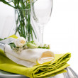 Festive table setting in green — Stock Photo