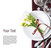 Festive table setting in brown, template — Stock Photo