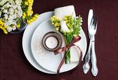 Festive table setting in brown — Stock fotografie