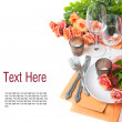 Template with festive table setting with roses — Stock Photo #12045306