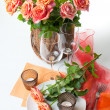 Festive table setting with roses — Stock Photo