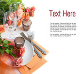 Template with festive table setting with roses — Stock Photo