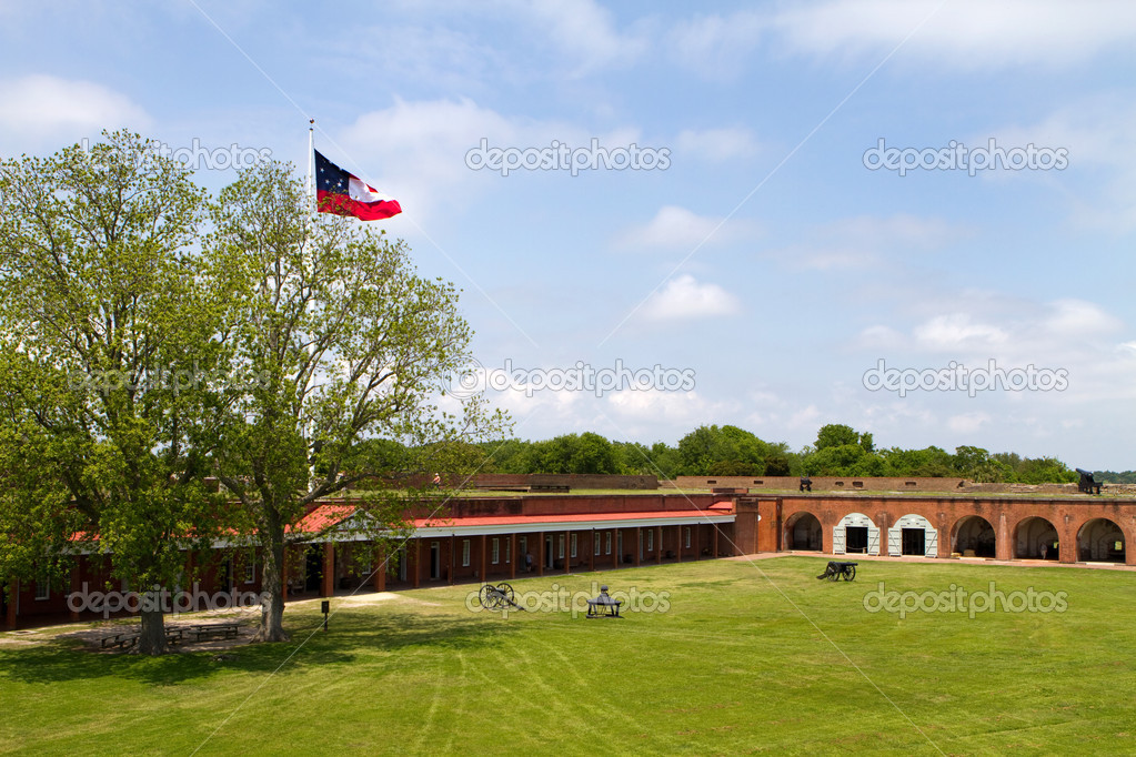 Parade grounds inside of Fort Pulaski National Monument on Cockspur Island in the Savannah River, Georgia, USA. — Stock Photo #11915821