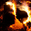 Stock Photo: Burning campfire