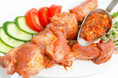 Shish kebab, prepared food — Stock Photo