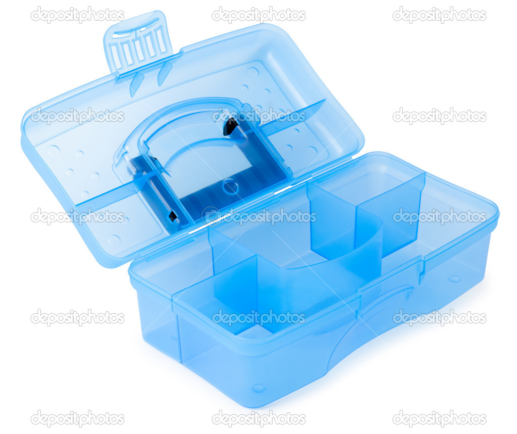 A new plastic box for tools, over white — Foto Stock #11129167