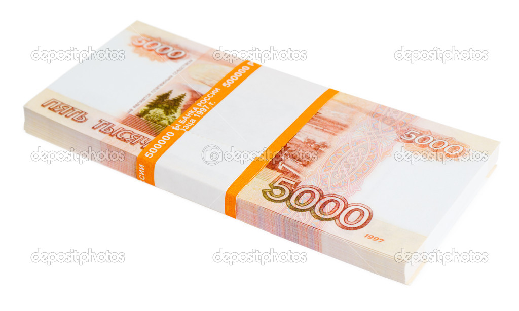 A batch of 5000 Russian rubles notes, over white — Stock Photo #11438032