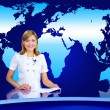 Anchorwoman at TV studio - Stock Photo