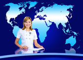 Anchorwoman at TV studio — Stock Photo