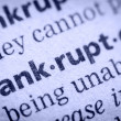 Word bankruptcy in glossary, super macro - Stock Photo