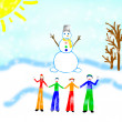Royalty-Free Stock Photo: Drawing of family with snowman