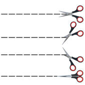 Section lines with scissors, set — Stock Photo
