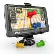 GPS. Global positioning system and thumbtacks — Stockfoto #10777320