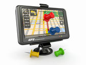 GPS. Global positioning system and thumbtacks — 图库照片