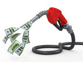 Gas pump nozzle and dollar on white background — Stock Photo