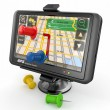 GPS. Global positioning system and thumbtacks — Stockfoto #10928223