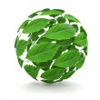 Spring. Sphere from green leaf. 3d — Stock Photo #10928225