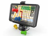GPS. Global positioning system and thumbtacks — Stockfoto