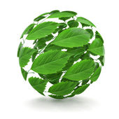 Spring. Sphere from green leaf. 3d — Stock Photo
