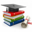 Graduation. Mortarboard, diploma and books. 3d — Stock Photo