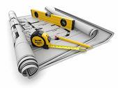 Concetto di costruzione. blueprint, livello e righelli — Foto Stock
