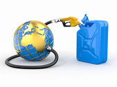Earth, gas pump nozzle and canister — Stock Photo