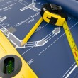 Stock Photo: Construction Concept. Blueprint, level and rulers