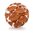 Autumn. Sphere from red leaf. 3d — Stock Photo
