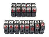 Login e senha como um acesso de sistema de combinação — Fotografia Stock