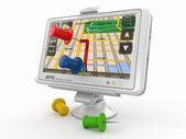 Gps. global positioning system en thumbtacks — Stockfoto