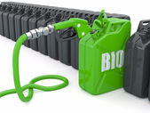 Biofuel. Gas pump nozzle and jerrycan — Stock Photo