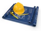 Bau-konzept. bauarbeiterhelm, blueprint und herrscher. — Stockfoto