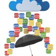 Cloud computing concept. Virus, spam protection — Stock Photo #11641980