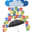 Stock Photo: Cloud computing concept. Virus, spam protection