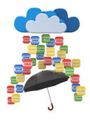 Cloud computing concept. Virus, spam protection — Stock Photo