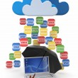 Cloud computing concept. Virus, spam protection — Stock Photo #11796121