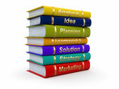 Business training. Economic books on white background — Stock Photo