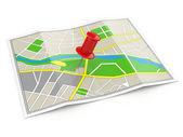 Emplacement. carte et punaise. concept gps. — Photo