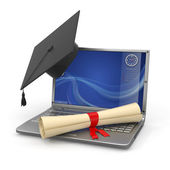 E-learning graduation. Laptop, diploma and mortar board — Stock Photo