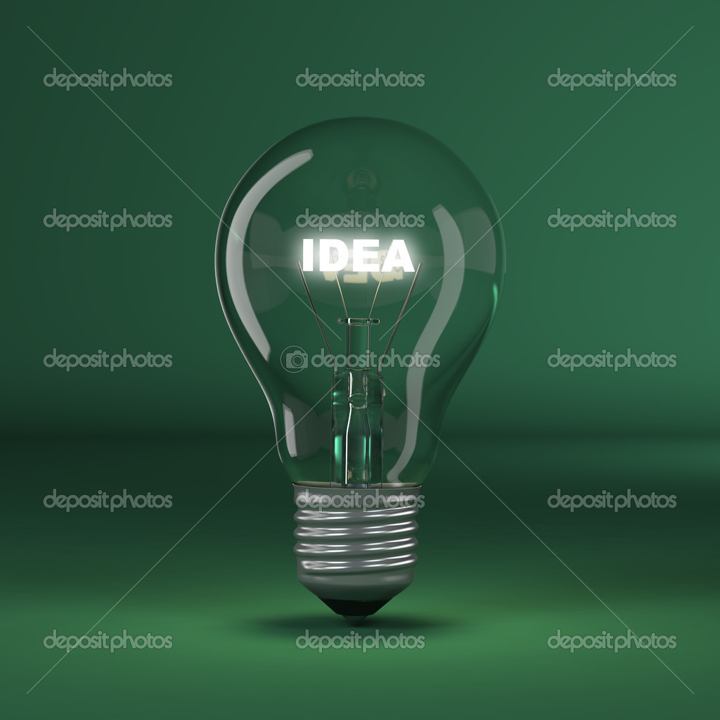Light bulb with glowing text idea. 3d  Stock Photo #11919890