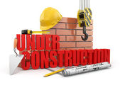 Under construction. Tools, hardhat and wall. 3d — Stock Photo