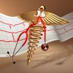 Medical background. Stethoscope, caduceus symbol and cardiogram — Stock Photo