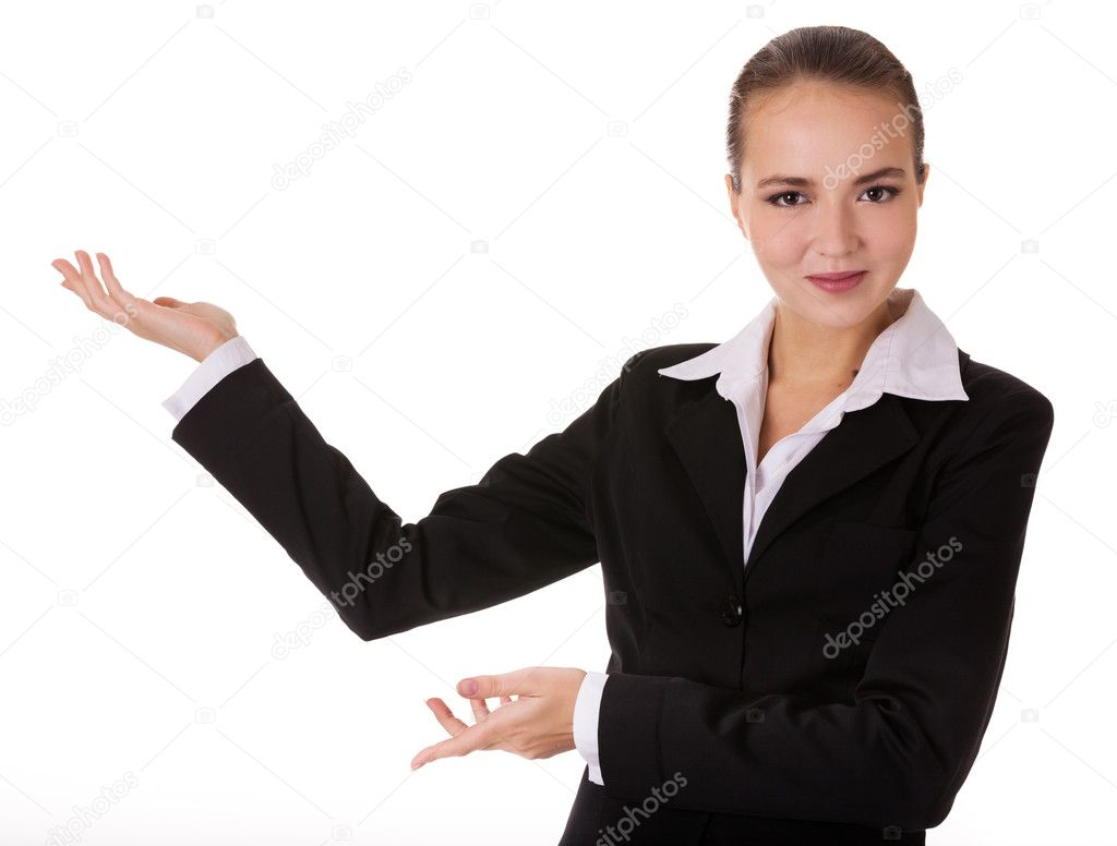 Smiling young businesswoman in black suit with depostration gesture by both hands. Isolated on white background. — Stock Photo #10776100