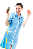 Nutritionist with vegetables — Stock Photo